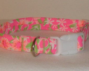 Handcrafted Lilly Pulitzer Fiesta Pink Everything Nice Dog Collar- All Sizes- Free Shipping