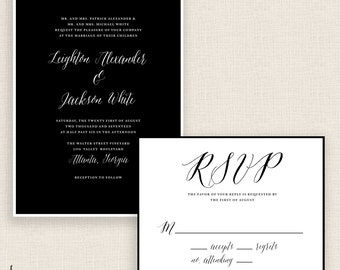 CLASSIC CONTRAST - DIY Printable Wedding Set - Invitation and Reply Card