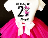 Minnie Mouse Black White Polka dotted & Hot Pink 2nd Second Girl Birthday Tutu Outfit Custom Personalized Name Age Party Shirt Set
