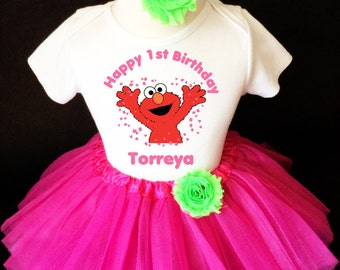 Elmo Pink Green 1st First Girl Birthday Tutu Outfit Custom Personalized Name Age Party Shirt Set