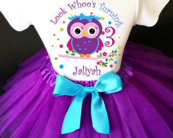 Owl Look WhOO's Whos Who's Purple Pink Blue Polka dots 3rd Third Girl Birthday Tutu Outfit Custom Personalized Name Age Party Shirt Set