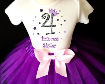 Zebra Print Purple Lavender Pink Polka dots dotted 4th Girl Birthday Tutu Outfit Custom Personalized Name Age Party Shirt Set