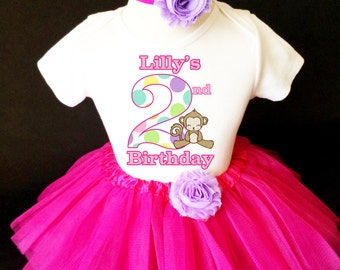 Adorable Monkey Polka dots Hot Pink 2nd Second Girl Birthday Tutu Outfit Custom Personalized Name Age Party Shirt Set