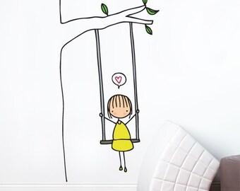 Swinging - Wall Decal - Wall Sticker