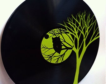 Green Owl in Tree Record Art