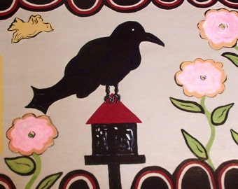floorcloth painted rug kitchen mat bathroom mat black raven  primitive painting floor mat art for the floor