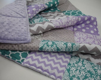 Mixed Geometrics in Teal Lavender and  Gray Patchwork Comforter Blanket You Choose Size MADE TO ORDER