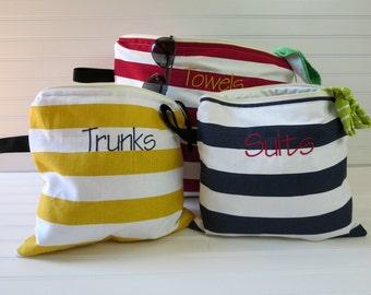 Personalized Gift, Wet Bag Set of 3, Swim Suit Bag, Beach Wet Bag, Surfing Wet Bag, Bikini Wet Bag, Monogram Wet Bag