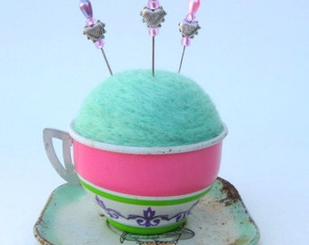 SHOP CLOSING SALE - Pin Cushion - Needle Felted - In Vintage Child's Tin Tea Cup With Saucer - Green, Pink, And Purple - Gift For Her