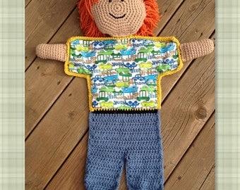 PDF Crochet Pattern- Little Boy Blanket Buddy - Flannel/Crochet - Easy and Fun to make - Beginners to Intermediate
