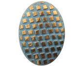 Vintage Light Blue Glass Cabochon with Checkered Gold Top 25x18mm (1) cab322B