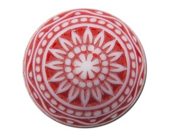 Vintage Etched Mosaic Red and White Cabochons 12mm cab827D