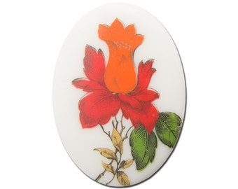Vintage Red and Orange Glass Flower Cabochon Germany 40x30mm (1) cab747A