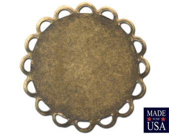 Brass Ox Lace Edge Round Flat Pad Settings 18mm (12) stn030X