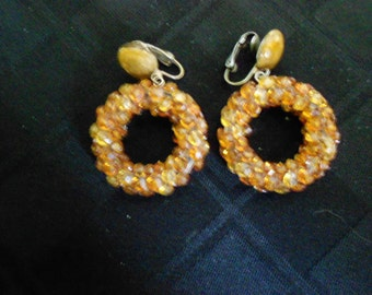 Amber and Gold Vintage Clip On Earrings