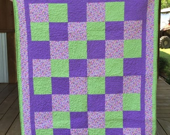 Pink, Purple and Green Floral Quilt