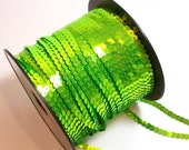 Neon Green Sequin, Bright Chartreuse Green Single Strand Sequin Trim 1/4 inch wide x 10 yards