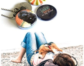 Dog Memorial Locket Necklace - Custom, Personalized, Magnetic Necklace Set by Polarity - Your Dog's Name and Picture