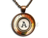 Initial Personalized Copper Marble Image - Round Glass Dome Pendant  Necklace by IMCreations - WD109