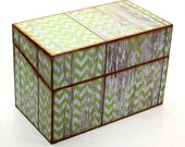Wood Recipe Box Barn Wood Light Green Chevron Fits 4x6 Recipe Cards