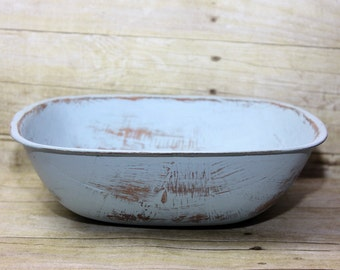 Large Square Wood Bowl Light Blue Painted Shabby Chic Distressed
