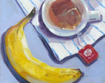 Tea In Cup And Fruit  Still Life Original Acrylic Kitchen Painting Home Decor