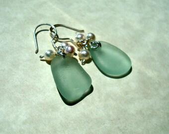 Sea Glass Earrings -Seafoam Seaglass Freshwater Pearl Dangles -Sterling Silver Jewelry