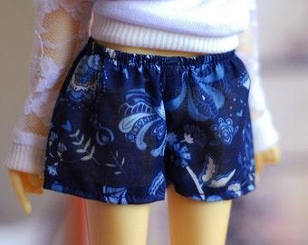 Dark blue cotton shorts with flower print for Slim MSD BJD dolls