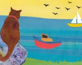 Collage Art Print: Sea Cat- 8 x 10 - Cat picture from Original Painted Paper Collage