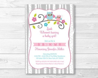 Woodland Owl Baby Shower Invitation / Owl Baby Shower / Woodland Baby Shower / Baby Girl Shower / PRINTABLE