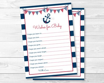 Nautical Anchor Wishes for Baby Advice Cards  INSTANT DOWNLOAD