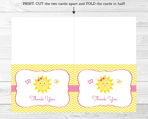 You Are My Sunshine Birthday Thank You Card Printable Ebay