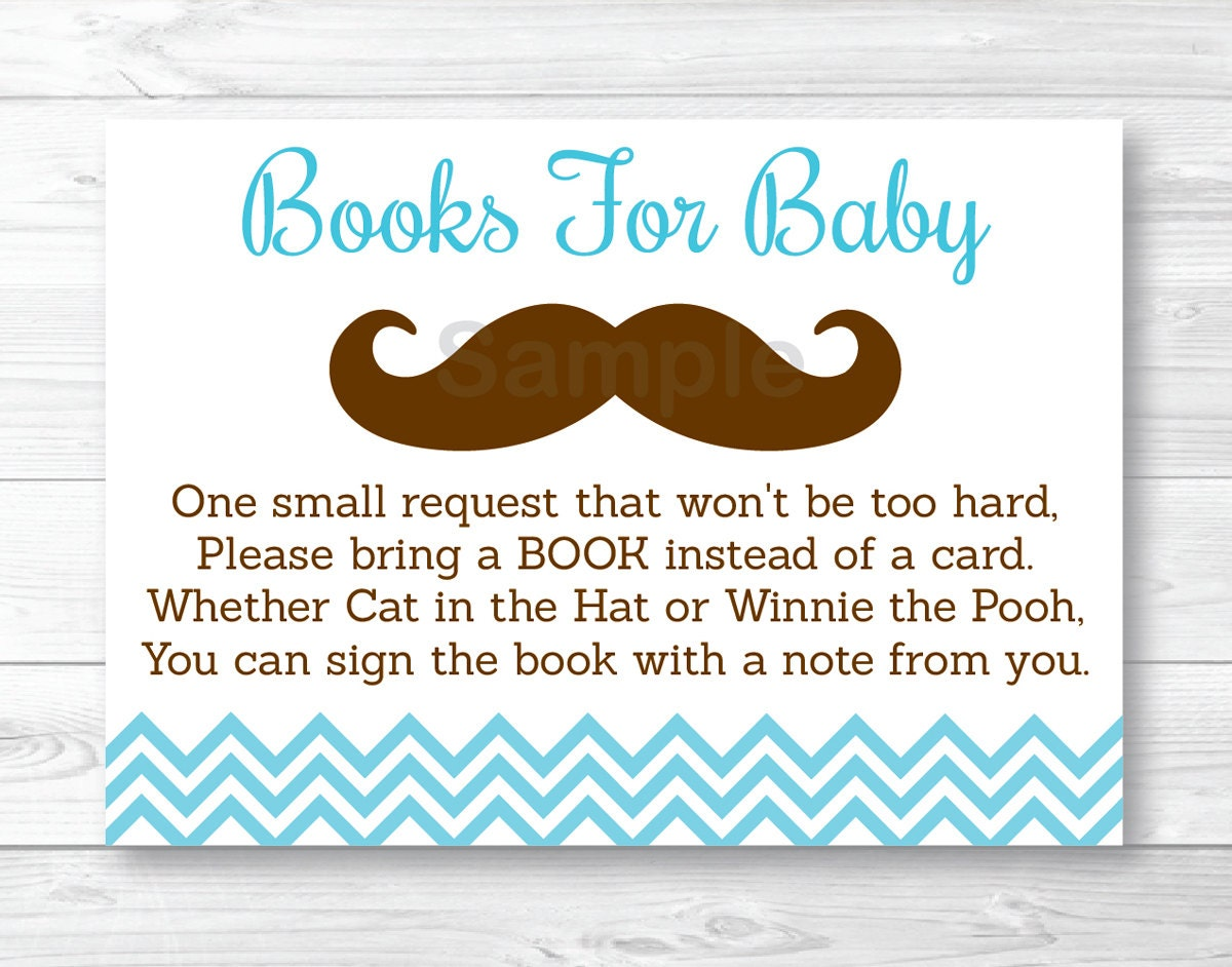 cute mustache baby shower book request cards mustache baby