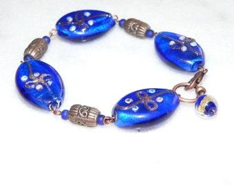 Blue Bracelet, Lampwork Bead, Glass Bracelet, Gift for Her