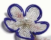 blue violet bridesmaids beaded flower hair clip fascinator, brooch,  French beaded flower
