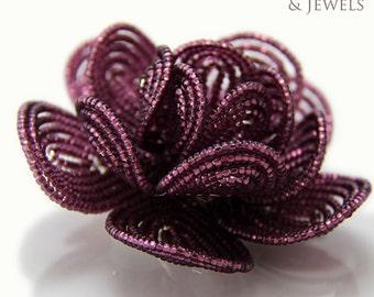 Purple brides beaded hair flower clip - French beaded flowers Royal French Goddess  eggplant, purple, violet plum