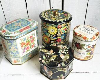 Vintage Tins - Daher Tea Biscuit Candy Tins - Set of 4