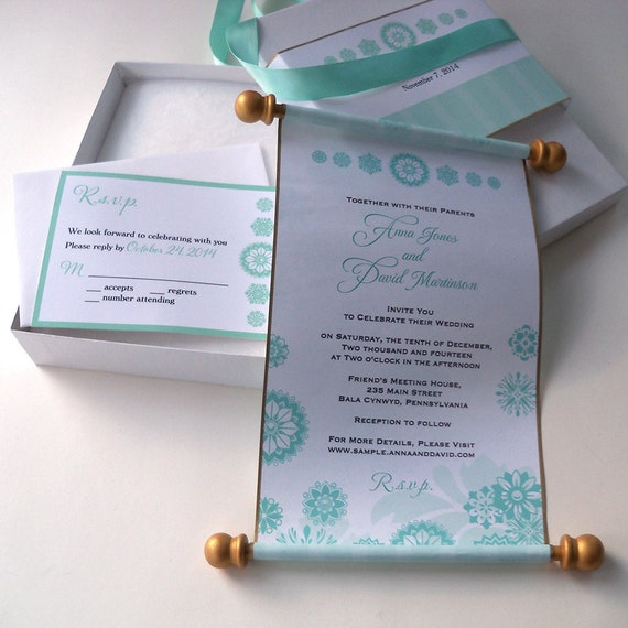 Winter fairytale boxed wedding invitation scroll suite in aqua and silver with snowflakes - set of 25