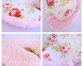 Newborn Lounger cover / Roses cotton print with pink minky   / Zipper closure / Shabby Chic Boppy Cover