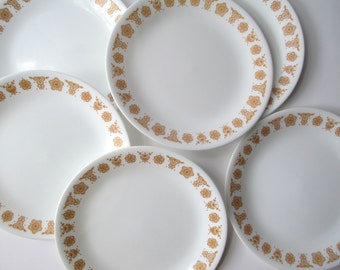 Vintage Corelle Butterfly Gold Luncheon Plates Set of Six