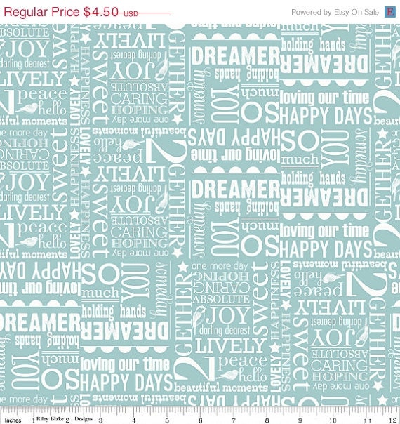SALE Remember Words Blue 1/2 Yard by uberstitch on Etsy