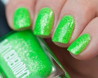 Fiji// Handmade Neon Green Nail Lacquer// Sterling Silver Flake// Cruelty Free