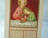 Vintage Religious Holy card, Catholic Gold print, Jesus Christ, Latin Text block, Beautiful Prayer card, Christian art, Christian ephemera