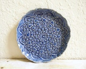 Ceramic Lace Plate Ring Holder Trinket Dish Ring Catcher Bowl Jewelry Holder Blue