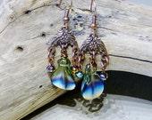 Antique Copper & Blue Glass Beaded Chandelier Earrings,Copper Chandelier Earrings,Blue Earrings,Glass Bead Earrings,Dangle Earrings