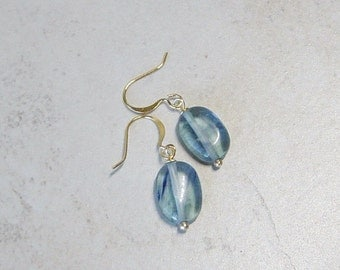 Blue Glass Beaded Gold Drop Earrings