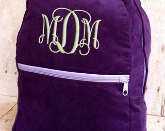 Toddler Backpack Personalized Purple Corduroy Monogrammed Preschool Girl