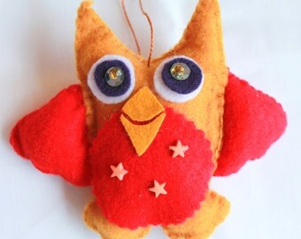 Plush Felt Owl Hanging Ornament  Baby Owl
