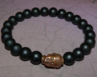 Buddha Copper Bead Matte Black Onyx Bracelet