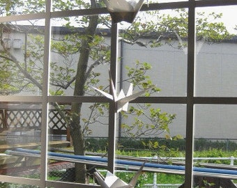 """5 Large Origami Cranes Mobile - 5 Dangling Mobile - White, folded from 7"""" (17.8 cm) Solid Origami, Home Decor, Nursery Mobile, Bridal Shower"""